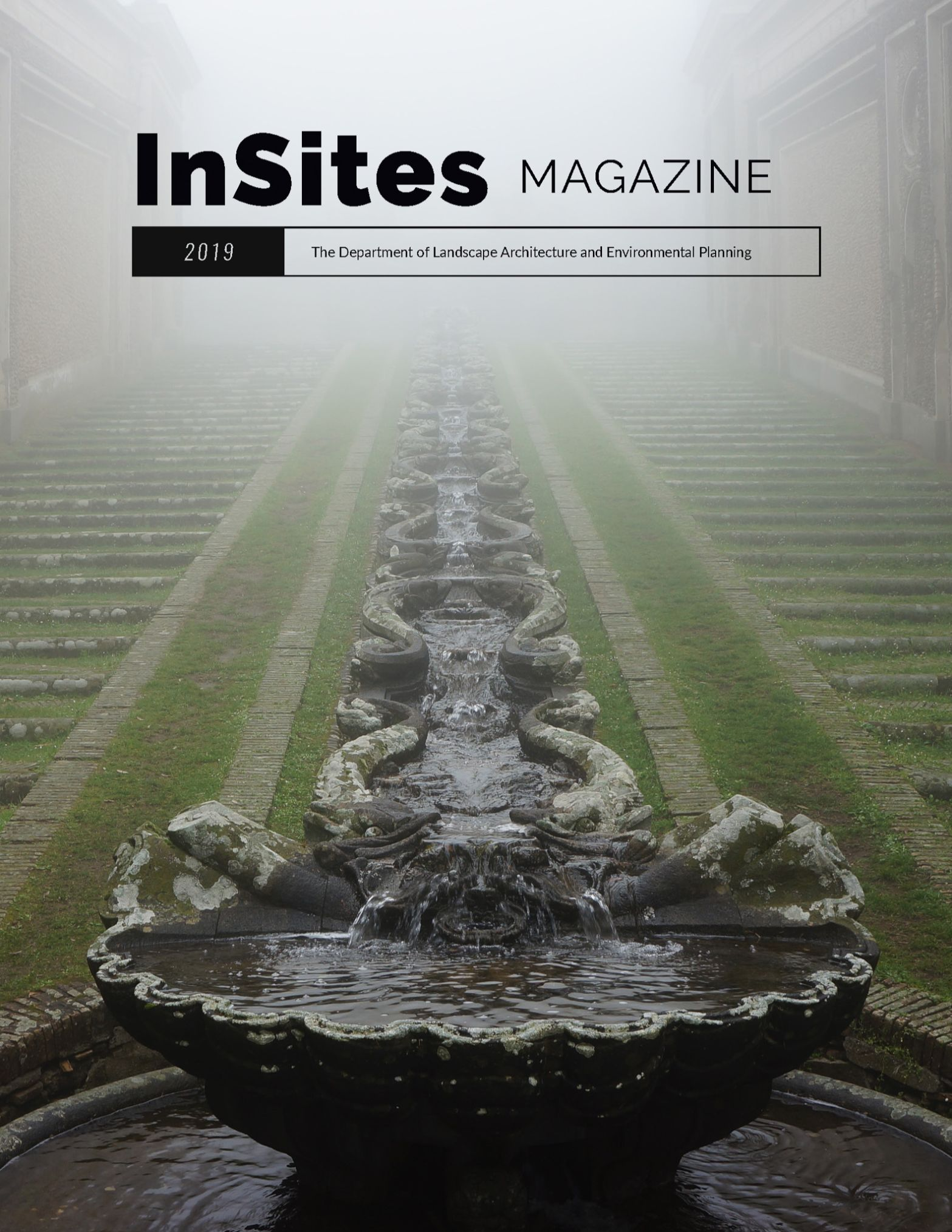 Magazine cover, fountain, green, fog