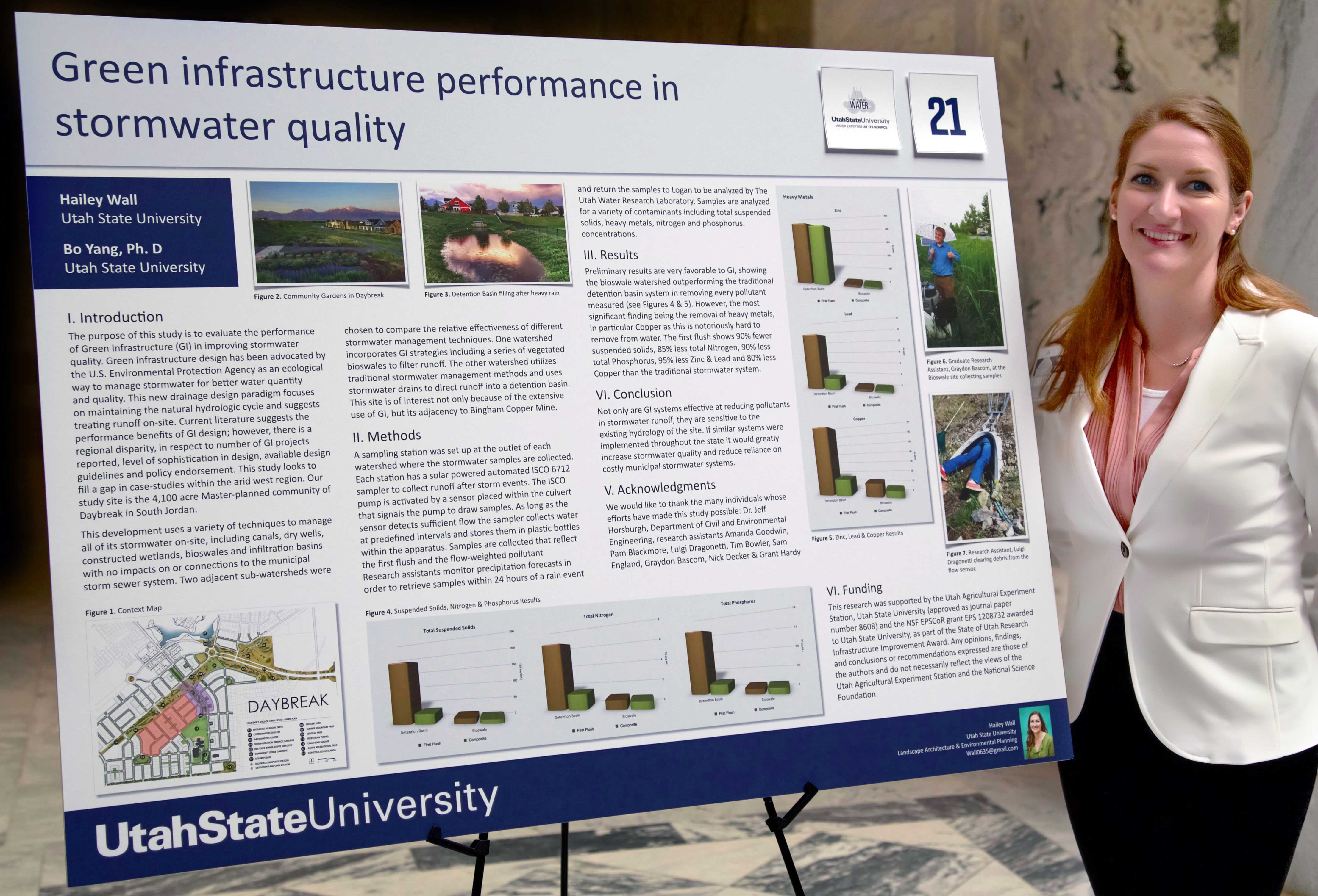 Hailey Wall presents research at Utah State Capitol.